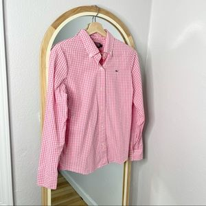 Vineyard Vines hot pink gingham button up shirt